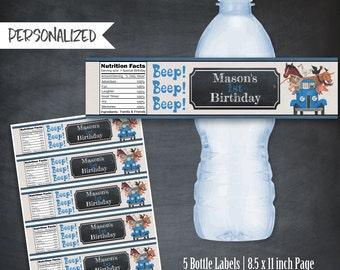 Little Blue Truck Bottle Labels, Little Blue Truck Labels, Little Blue Truck Favors, Little Blue Truck Printables, Personalized, Party