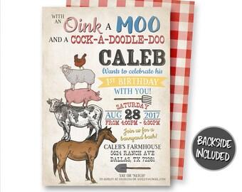 Farm Invitation, Farm Animals Invitation, Barnyard Invitation, Farm Party, Petting Zoo Invitation, Ranch Invitation, Printable, Personalized