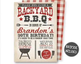 BBQ Invitation, Barbecue Invitation, Backyard BBQ Invitation, BBQ Birthday Invitation, Barbecue Party, Digital, Personalized, Printables