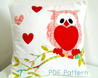 Owl Cushion Pillow Pattern; PDF Applique Pattern; PDF Sewing Pattern; Instant Download; Nursery Cushion