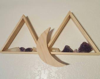 Moon wall crystal shelf
