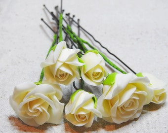 Polymer Clay Jewelry - Set of Six Hair Pins With Ivory-Colored Rose Heads