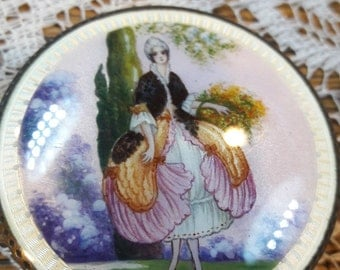 Antique Lady enamel Sterling Compact