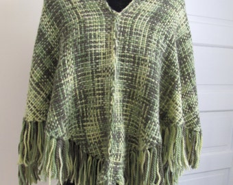 Handwoven Variegated Green Poncho