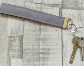 Grey Recycled Denim Wristlet Keyfob
