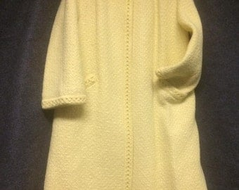 Vintage Buttercup Yellow 1960s Trapeze Swing Coat.