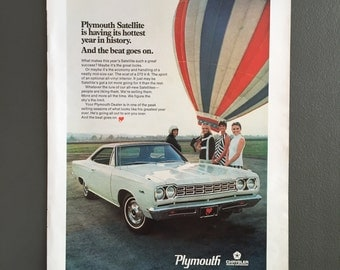 1968 PLYMOUTH SATELLITE AD-Goodyear Tire On Fastback Mustang Ad-Chrysler-Vintage Muscle Car Ad-Decoupage Or Frame-Home Decor Or Gift