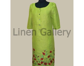 Organic  dress with embroidery. Embroidered dress. Choice of colors and sizes