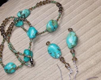 Handmade custom Turquoise necklace set