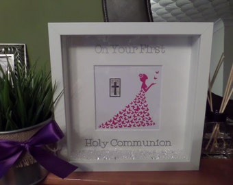 First Holy Communion Frame. Non traditional. Girls. Beautiful Dress, Swirls, Butterflies,