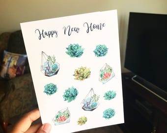 NEW HOME CARD, new home Gift, congratulations Card Unique, Watercolor succulent card, houswarming cards, housewarming gifts