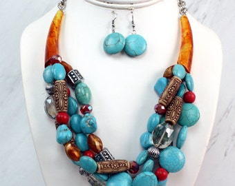 Multicolored Tribal Necklace Set