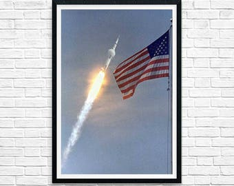 Space Poster, First Lunar Landing Mission 1969, Apollo 11, Nasa Poster, Rocket Poster, Home Decor, Gallery Wall, MATTED, American Flag,16x20