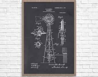 Windmill Patent, Windmill Poster, Windmill Art, Farming Patent, Farming, Farming Poster, Barn Art, Farmhouse Art, Farmhouse