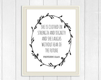 Proverbs 31:25 She Is clothed in strength and dignity Digital Nursery Wall Art,Printable Nursery Art, Religious Nursery Art