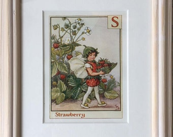 Framed 'S' for Strawberry Flower Fairy Print by Cicely Mary Barker, 1940s Edition
