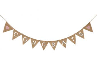 Congrats  & Congratulation Hessian Celebration Bunting