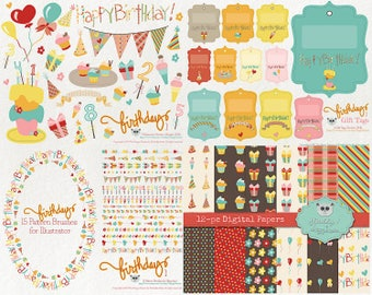 80% OFF! - Clipart and Digital Papers BUNDLE Birthday 1 Party Greeting Vector Graphics PNG