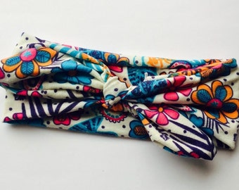 Top Knot Headband, Floral Headband, Fabric headband, Stretchy Knot Top, Girl Headband, Baby girl headband, Hair accessory.