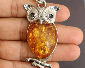 Owl Necklace, Owl Pendant with Orange Resin Pendant, Owl Pendant with Long Chain, Silver Owl Necklace, Owl Gifts, Owl Jewelry, Jewellery