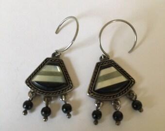 Beautiful Vintage Monet Enameled Hook Earrings With Dangles Pierced Ears