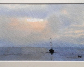 Original watercolor painting of a boat sunset in Britany