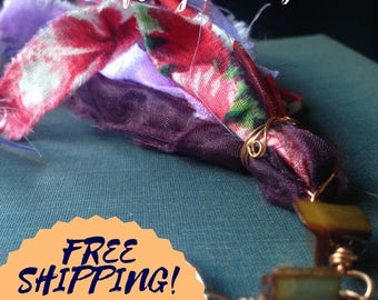 Red and purple Boho fabric journaling OOAK gift book lovers charm embellishment