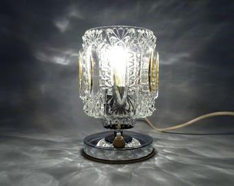 RESERVED FOR Osamu Yoshida Desk Lamp / Vintage Table Lamp / Chrome  / Glass Table Sconce / 70s Home Decor / Bedside Lamp / Vintage Light