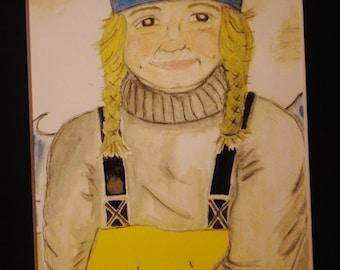 "original watercolor giclee print- ""fisherwoman"""