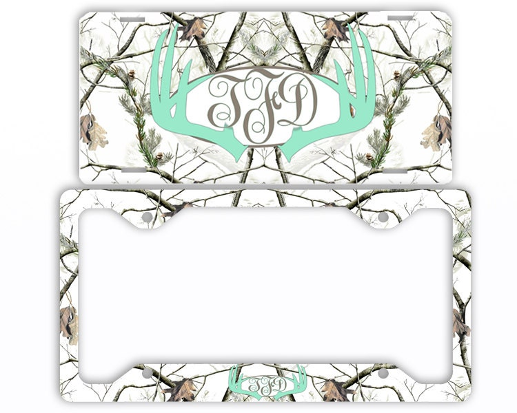 Mint Deer Antlers Snow Camo License Plate Car Tag Monogram
