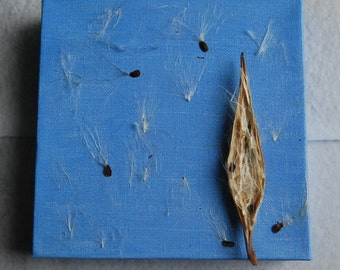 Blowing in the Wind. 6in x 6in x 1.5in. Acrylic Painting with Seed Pod. Home Decor.