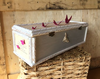 Jewellery Box Shabby Chic Butterfly and Text Design