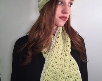 Light green and white beanie with matching scarf