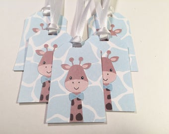Blue Giraffe Gift Tag with White Ribbon, Set of 5 #2024