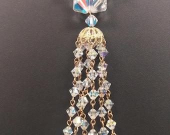 Vintage Crystal Tassel Necklace