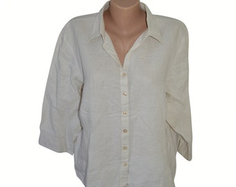 Vintage In Linea Firenze white women shirt ramie cotton size 48