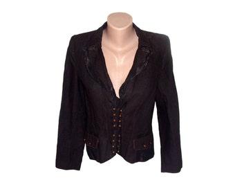 Vintage Grana women blazer jacket brown metal buttons