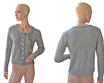 Vintage women cardigan gray beads