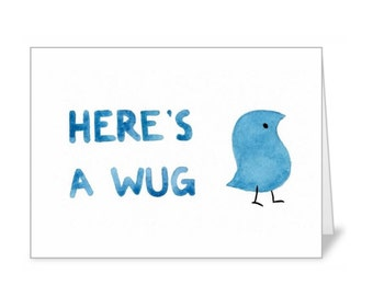 """Watercolor Painting Card - Linguistics - Here's A Wug (5 x 7"""" with envelope)"""
