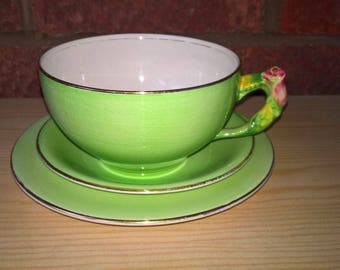 FLOWER-HANDLE Royal Winton Grimwades -  rosebud large bowl cup trio  art deco,