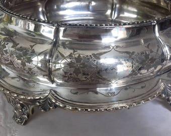 Antique R&B silver  plate LARGE oval decorative fruit bowl