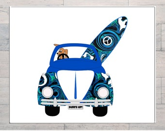 VW Beetle, Surf Art, Dogs Surfing, Surfs Up, Sixties, Surf Scene, Printable, Instant Download, Digital Download, Multi Sizes, Digital Art,