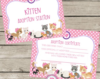 Kitten Adoption Certificate Birthday Party Ideas Polka Dot Kitten Adoption Station Adopt a Pet Cat Stuffed Animal Calico Tabby Pink Girl Bow