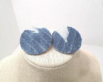 "Custom Made Clip On Distressed Denim Tie Dye 1.5"" Round Earrings"