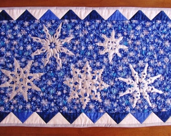 Winter Snowflakes Table Runner, Handmade Quilt for Sale, Homemade Quilt for Sale, Applique