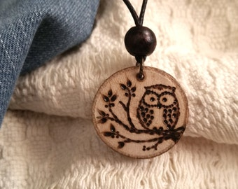 Necklace OWL on branch, pyrography on wood of birch