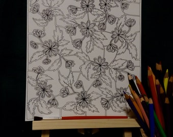 Flower Puzzle | Colouring Page | Instant Printable A4 PDF file