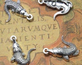 15 PCS Crocodile charms Silver tone Alligator Pendants/Charms 20x26mm ASD1837