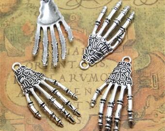 10pcs skeleton hand Charms silver tone skeleton hand charm pendant 42X21mm ASD2077