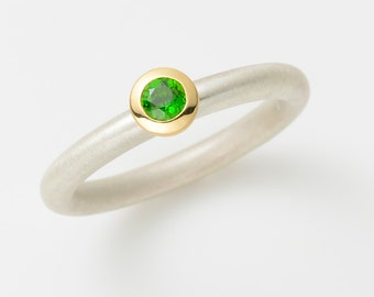 Cocktail ring DIOPSIDE 18 kt yellow gold and Sterling Silver 925 / -.